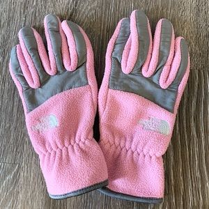 Pink North Face Gloves (Size Medium)
